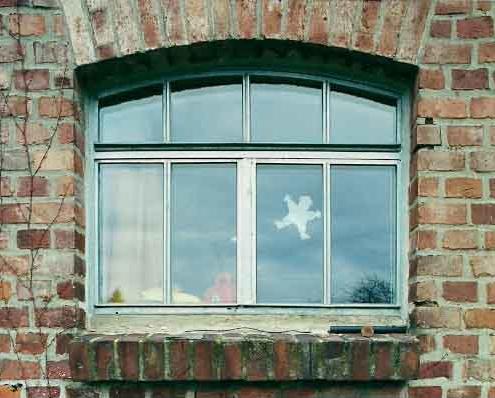 Stahlsprossenfenster wärmegedämmt mit Bogen, zwei Öffnungsflügel stulp